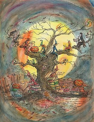 GRIMM'S FAIRY TALE TREE Print Signed by Artist  JOHN RANDALL YORK Books Fairies