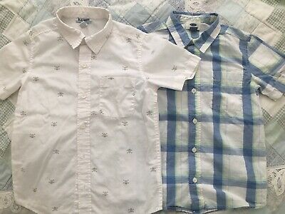 OLD NAVY 2 Boy's Button-Front Short Sleeve Shirts Small (6/7) - Used
