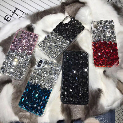 Jewelled Rhinestone Bling Crystal Diamond Case Cover For iPhone Xs Max Xr 8 Plus