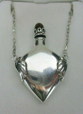 """Vintage Sterling Perfume / Potion Bottle  Necklace, 33"""" Length, Mexico"""