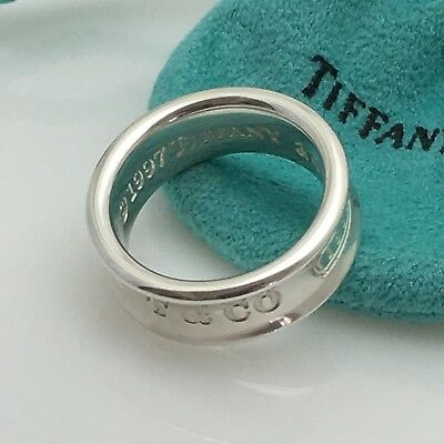 Size 8.5 Tiffany & Co Sterling Silver 1837 Ring Concave Ring Band