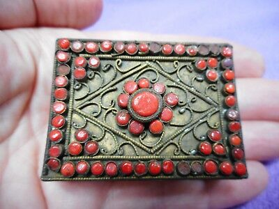 Antique Brass Filigree Coral Glass Match Box Cover Nepal Tibet w/Matches