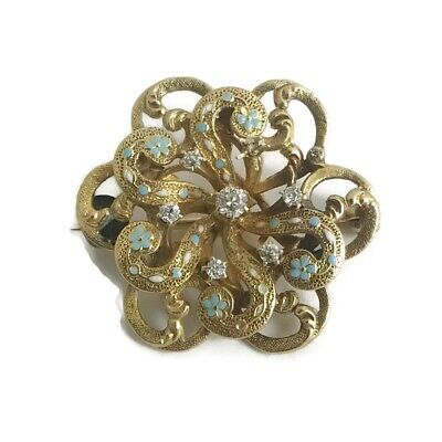 Antique Vintage Diamond Turquoise Enamel Brooch Pin 20K Yellow Gold, 5.19 Grams