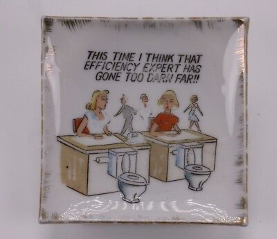 Toilet Potty Work Humor Verse Vtg Sm White Painted Ceramic Candy Dish Ash Tray