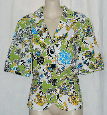 RQT Yellow Green Turquoise Vintage Inspired SS Jacket, SZ M, EUC, CITRUS COLORS