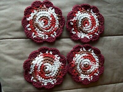 Hand crocheted cotton coasters/doilies-set of 4 maroon/brown-red-pink-wht vari