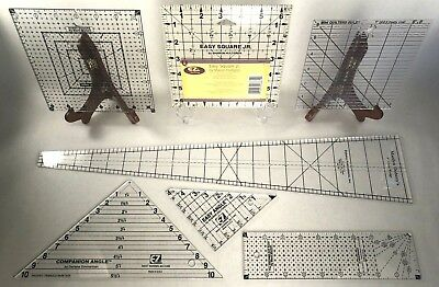 Lot of 7 Quilting Rulers ~ Square, Triangle, Rectangle, Wedge