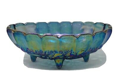 Vtg Carnival Indiana Glass Bowl Blue Iridescent Oval Footed Harvest Grape 12""