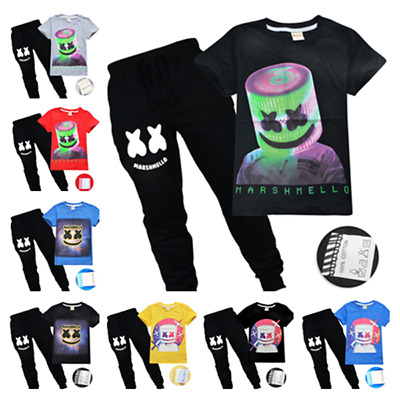 Hot DJ Marshmello Kids Cotton T-shirts Top Outfit Costume tshirts Trousers sets