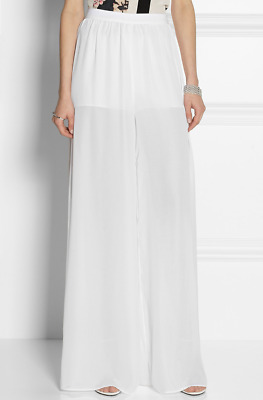 Alice & Olivia White High-Rise Chiffon Wide Leg Pants Size S NWOT BRAND NEW!