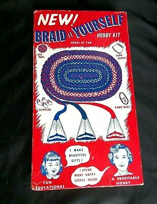 1956 Nu Flex Co Braid it Yourself Rug Making Kit Box Instructions Thread USA