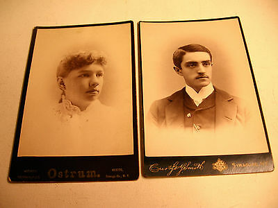 Two 1800's Cabinet Photos from Oswego and Syracuse, N.Y. Studios
