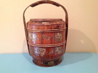 Antique 3 Tier Wooden Chinese Wedding Basket Hand Painted