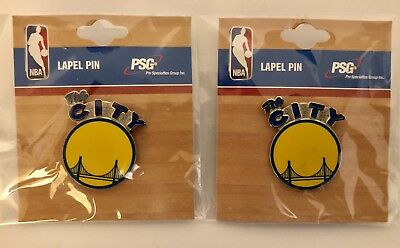 """A Lot Of (2) Nba Golden State Warriors """"the City"""" Logo Lapel Pins (Nwt)"""