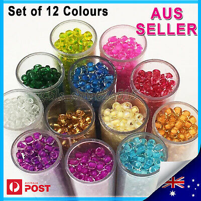 Glass Seed Beads 2mm Beaded 12 Colour Set Jewelry Necklaces Bracelet Craft Decor