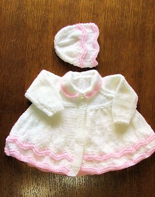 white and pink matinee set new 0 to 3 months hand knitted coat and bonnet