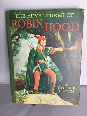 VINTAGE BOOK THE ADVENTURES OF ROBIN HOOD 16 COLOUR PLATES Illustrated Ward-Lock