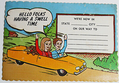 Vintage Humor Postcard Hello Folks Having A Swell Time Travel