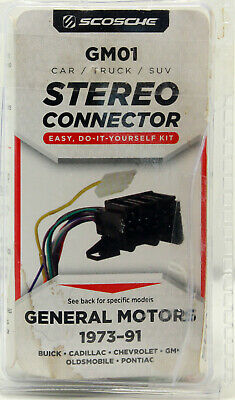 scosche stereo connector gm01 for general motors 1973-91 #gm01 wire  harnesses