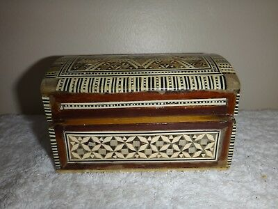 Mother of Pearl Inlaid Casket Shaped Hinged Lidded Wooden Laquered Box