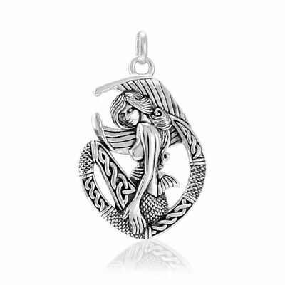Celtic Mermaid .925 Sterling Silver Pendant by Peter Stone Jewelry