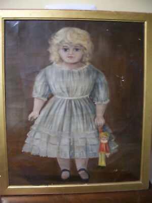 Antique American Mid 19th Century Oil on Canvas  - Little Blond Girl & Doll AAFA