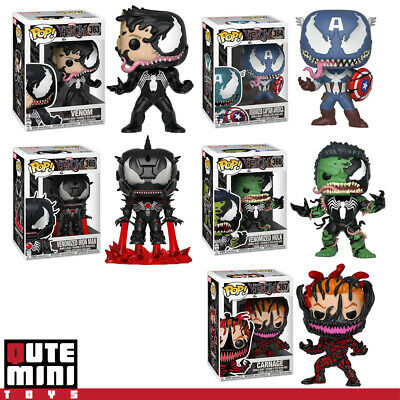 Funko Pop Marvel Venom Carnage Venomized Hulk Iron Man Captain A Set Of 5 Figure