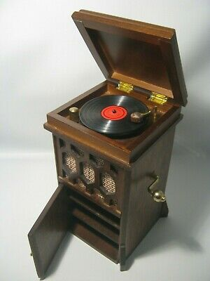 Vintage 1970's Small Wooden Music Box Shaped Old Record Player