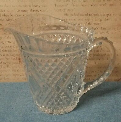 Diamond Pattern Vintage Crystal Milk Pitcher FTD 1985