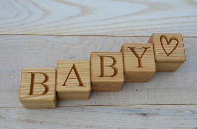 1.6 inches Personalized Wood Name Blocks, Wood Cubes with Alphabet Letters