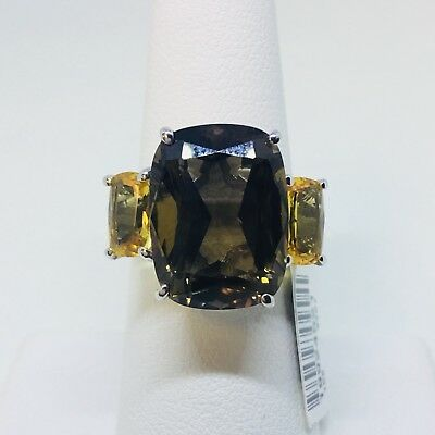 NEW Zales SmOkY QuArtZ CiTRiNe Sterling Silver STATEMENT Right Hand LARGE Ring