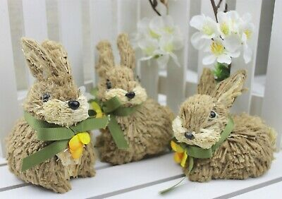 Gisela Graham Easter Brown Jute Bunny With Bow Ornament