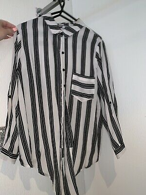 6dc41694 Black And White Pin Stripe Top Office 10/12 New Look Topshop Missguided,  Zara