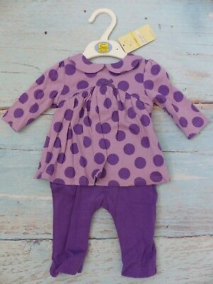 M&S Pure Cotton All in One Bodysuit Babygrow Purple Spots Up to 1 month 4.5Kg HW