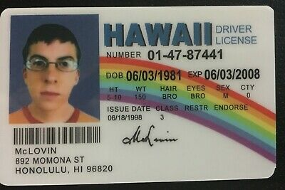 99 Mclovin Movie 4 Id Fake From Picclick Fogels Superbad Joke -