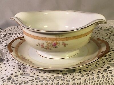 MEITO CHINA MEI 129 Japan GRAVY BOAT WITH ATTACHED UNDERPLATE