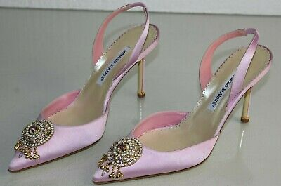 305021f00 NEW Manolo Blahnik PULASLING Pula Satin Pumps Jeweled Pink Wedding Shoes BB  40.5