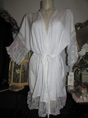 NWT In Bloom by Jonquil Lace Satin Ivory L Robe Dressing Gown Lingerie Women's