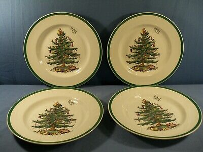 """Set of 4 Spode Christmas Tree Pattern Made in England Dinner Plates 10 3/4"""" Wide"""