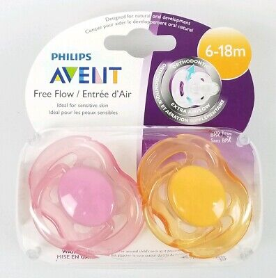 Avent Freeflow Pacifier - 6-18 Months - 2  - Pink / Orange