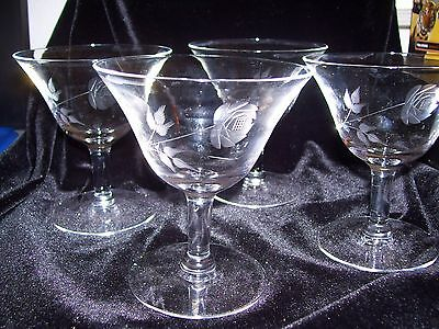 """Collectible & Vintage  Crystal Etched """"Rose"""" Pattern Cocktail Glasses Lot of 4"""