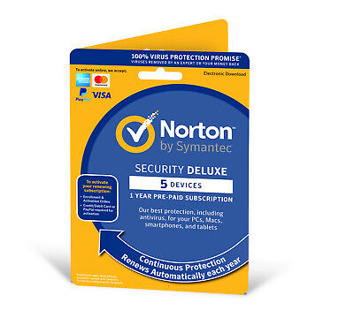 Norton Security Deluxe 2019 (5 Devices/1 Year) Internet Antivirus PC/Mac Emailed