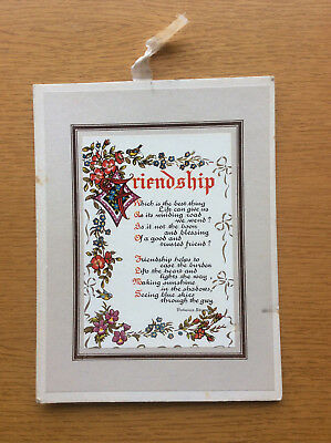 Vintage Friendship Wall Hanging Gift Card, 1960s, Decorative Calligraphy, Poem