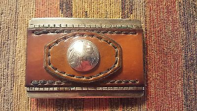 Stitched Leather Indian Head Belt Buckle