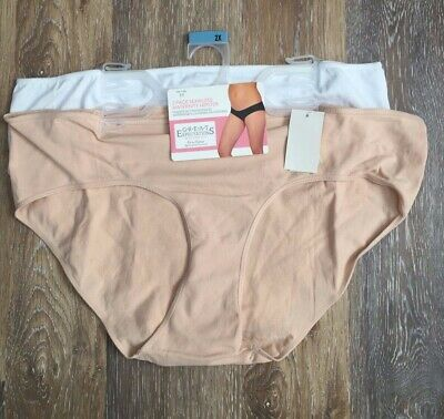 NWT 2 Maternity Underwear Seamless Hipster Panties Size 2X 18-20 Beige White