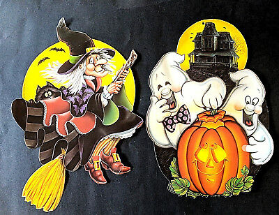 Vtg 80s Beistle Halloween Cutouts Set Of 2 Witch & Cat Ghosts & Jack O'Lantern