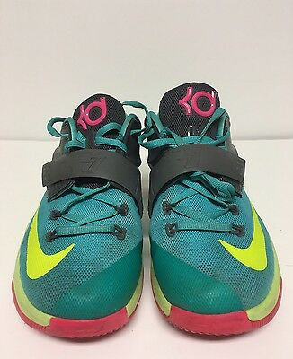 uk availability 6e619 a02a2 Nike KD 7 GS Size 7Y Hyper Jade Volt Pink Basketball Shoes