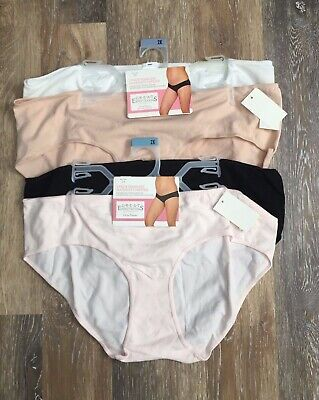 NWT 4 Maternity Underwear Seamless Hipster Panties 2X 18-20 Black Pink White
