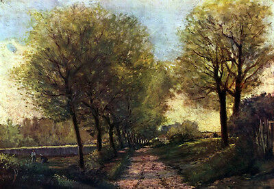Stunning art Oil painting Alfred Sisley - Tree avenue with a small town canvas
