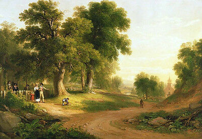 """Great Oil painting nice village landscape in summer with villagers no framed 36"""""""
